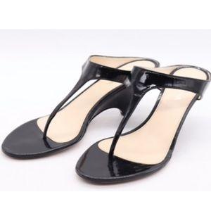 Prada  Patent Leather T-Strap Thong Kitten Heel